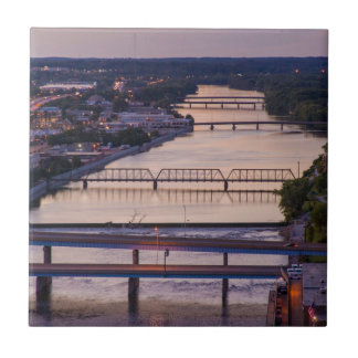 Many Bridges Span The Grand River, Sunset View Small Square Tile