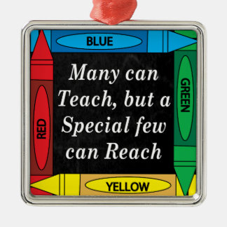 Many Can Teach   Teachers Silver-Colored Square Decoration