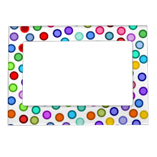 Many Colorful Circles Magnetic Picture Frame