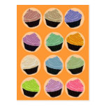 Many colorful cupcakes postcards