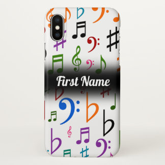 Many Colorful Music Notes and Symbols; Custom Name iPhone X Case