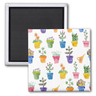 Many-coloured pots with flowers magnet
