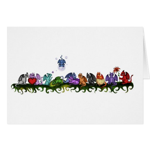 many cute Dragons Greeting Card