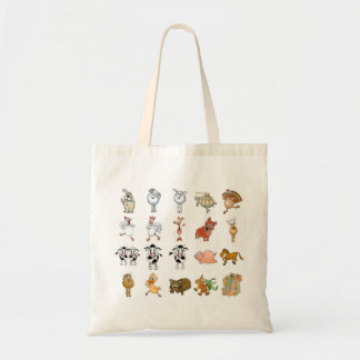 Many different cartoon animals on a tote bag.