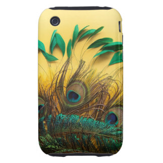 Many different kinds of feathers on a yellow iPhone 3 tough covers
