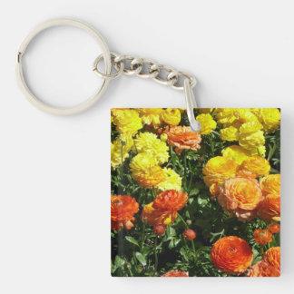 Many flowers,yellow,orange Double-Sided square acrylic keychain