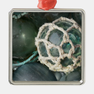 Many glass fishing floats, Alaska Silver-Colored Square Decoration