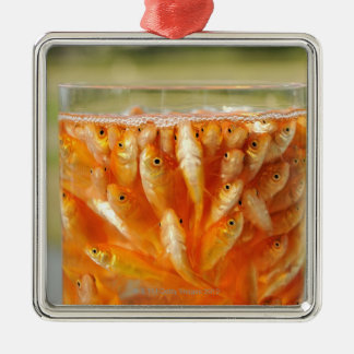 Many goldfish which are in the glass container christmas ornament