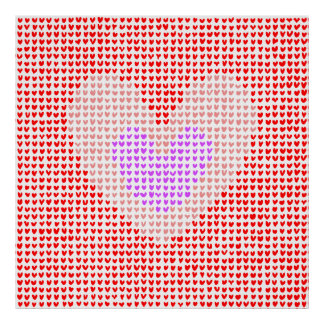 many hearts (red, pink and purple) poster