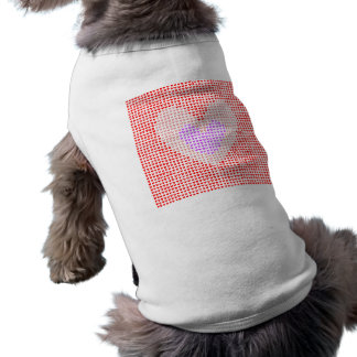 many hearts (red, pink and purple) sleeveless dog shirt