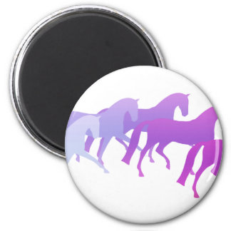 Many Horses (purples) 6 Cm Round Magnet