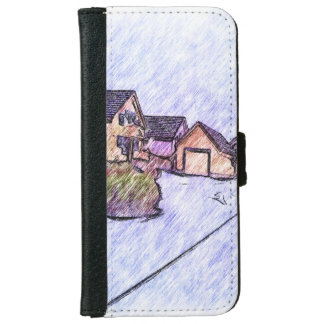 Many houses drawing iPhone 6 wallet case