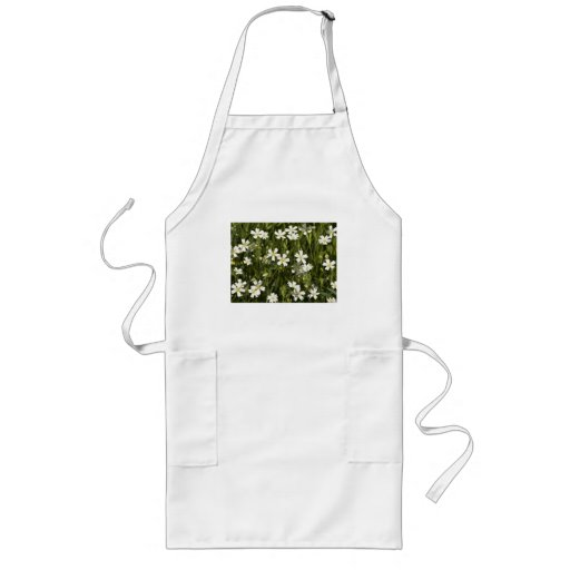 Many little white flowers in a green field aprons
