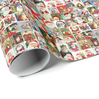 Many Many Vintage Santas Wrapping Paper