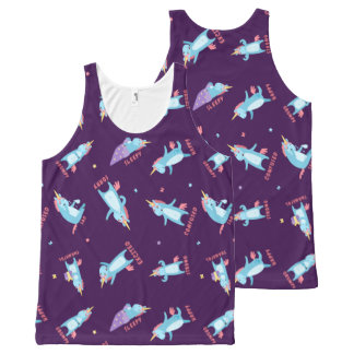 Many Moods of a Pink, Blue, and Purple Unicorn All-Over Print Tank Top