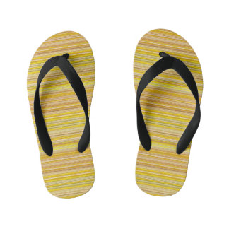 Many multi colored stripes in yellow... kid's flip flops