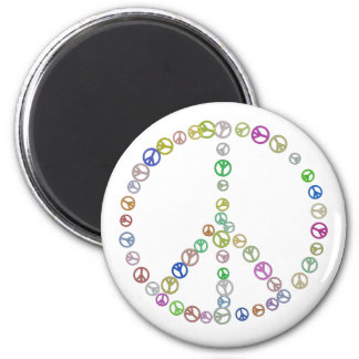 Many Peace Signs in One 6 Cm Round Magnet