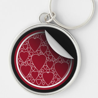 Many Red Hearts Silver-Colored Round Key Ring