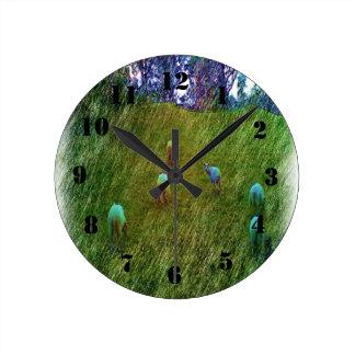 Many Sheep nature Round Clock