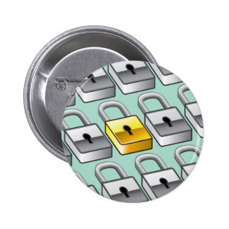 Many silver locks with one Gold Lock Vector 6 Cm Round Badge