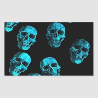 many skulls, blue rectangular sticker