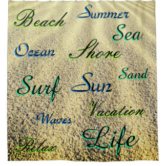 Many Templated Words Over Beach Sand Shower Curtain