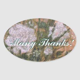 Many Thanks Oval Sticker