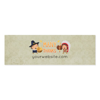 Many Thanks Pilgrim And Native Grateful Together Pack Of Skinny Business Cards