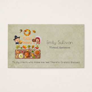 Many Thanks Pilgrim And Native Thanksgiving Feast Business Card