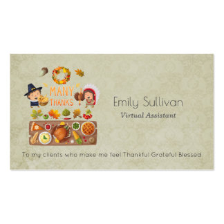 Many Thanks Pilgrim And Native Thanksgiving Feast Pack Of Standard Business Cards