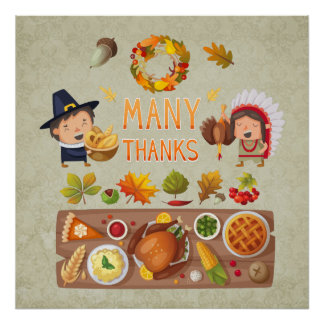 Many Thanks Pilgrim And Native Thanksgiving Feast Poster