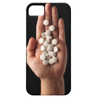 Many white pills in the palm of a person iPhone 5 case