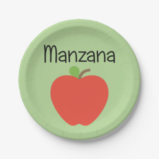 Manzana (Apple) Red Paper Plate