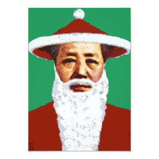 Mao Merry Christmas Chinese Pop Art Santa Claus 13 Cm X 18 Cm Invitation Card
