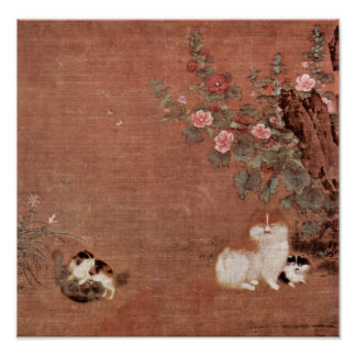 Mao Zedong - Cats with boys in a garden Print