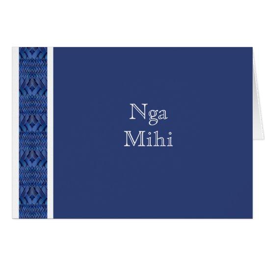 MAORI CARD:  Blue Nga Mihi Card