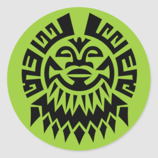 Maori Face Classic Round Sticker