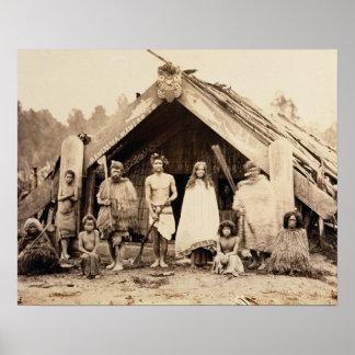 Maori Family, New Zealand, c.1880s (albumen print) Poster
