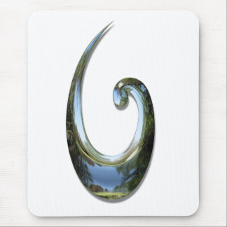 Maori Fish Hook - Chrome Mouse Mat