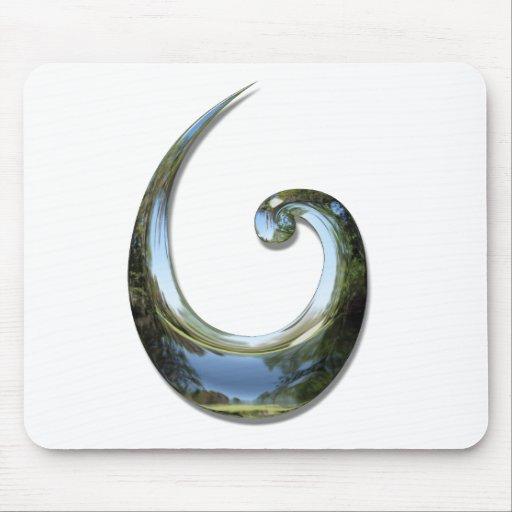 Maori Fish Hook - Chrome Mouse Pad
