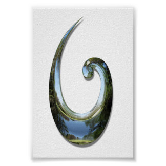 Maori Fish Hook - Chrome Poster