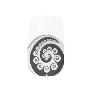 MAORI KORU design nail art of New Zealand