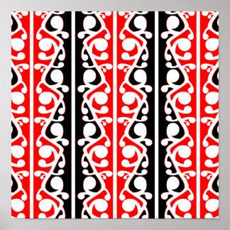 Maori Kowhaiwhai Traditional Pattern Poster