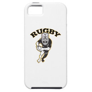 Maori Mask Rugby Player Running With Ball Fending Tough iPhone 5 Case