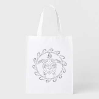 Maori Sun Tribal Turtle Adult Coloring Bag