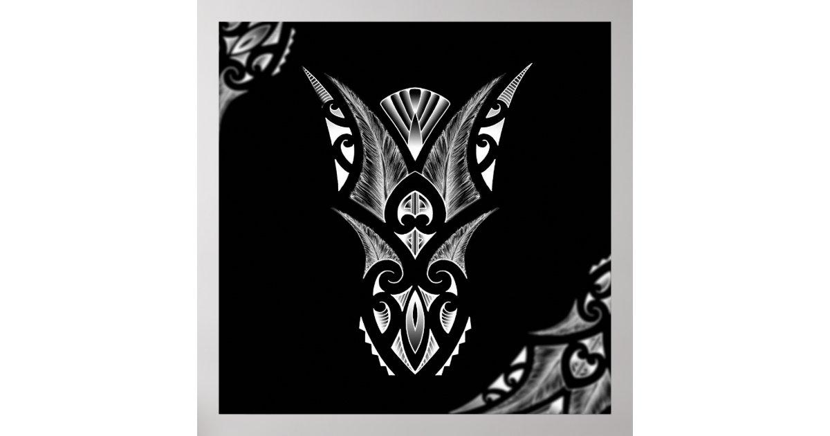 Maori Tattoo Uk: Maori Tattoo Artwork With Koru Design Poster