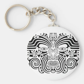 Maori Tattoo - Black and White Basic Round Button Key Ring