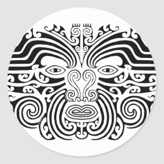 Maori Tattoo - Black and White Classic Round Sticker