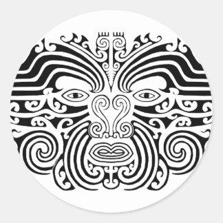 Maori Tattoo - Black and White Round Sticker