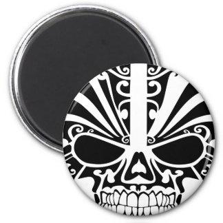 Maori Tattoo Mask Skull 6 Cm Round Magnet